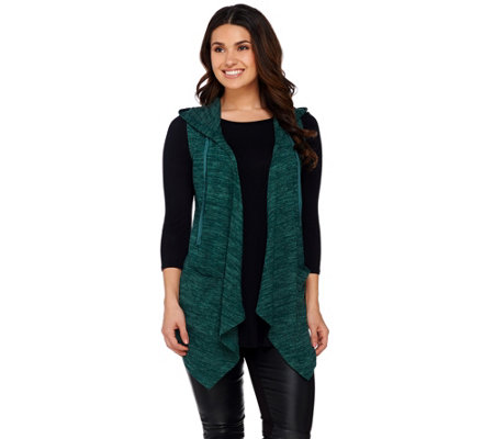 LOGO by Lori Goldstein Sweater Knit Hooded Vest with Pockets