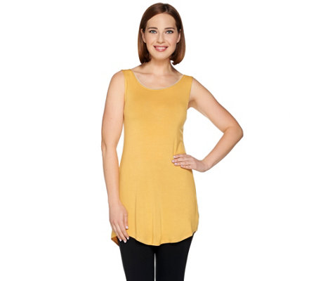 LOGO Layers by Lori Goldstein Knit Tank with Lace Trim Scoop Neck