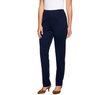 Susan Graver Ponte Knit Straight Leg Pull-On Pants