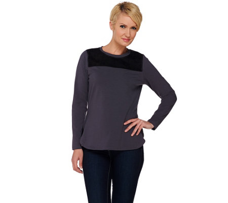 """As Is"" Denim & Co. Active Long Sleeve Knit Top with Faux Suede Suede Yoke"