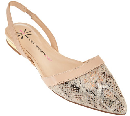 """As Is"" Isaac Mizrahi Live! Leather and Snake Print Flats"