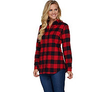 Denim & Co. Plaid Yarn Dyed Button Front Shirt - A284575