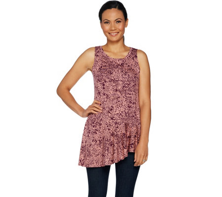 LOGO Layers by Lori Goldstein Printed Knit Tank with Seaming Detail
