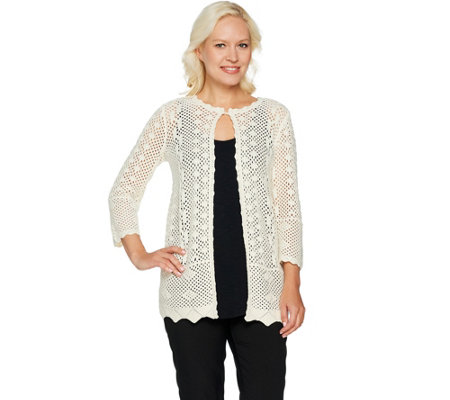 Joan Rivers Crochet Cardigan with 3/4 Sleeves