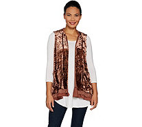 LOGO by Lori Goldstein Panne Velvet Hooded Vest w/ Lace Trim - A294675