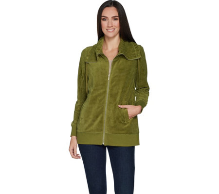 Susan Graver Weekend Ribbed Velour Zip Front Jacket