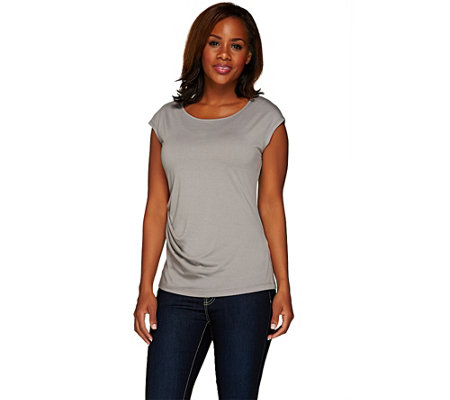 """As Is"" Lisa Rinna Collection Cap Sleeve Knit Top w/ Side Twist"