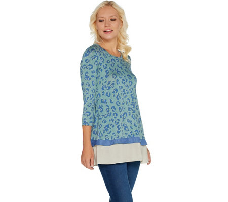 LOGO by Lori Goldstein Printed Knit Top with Contrast Hem