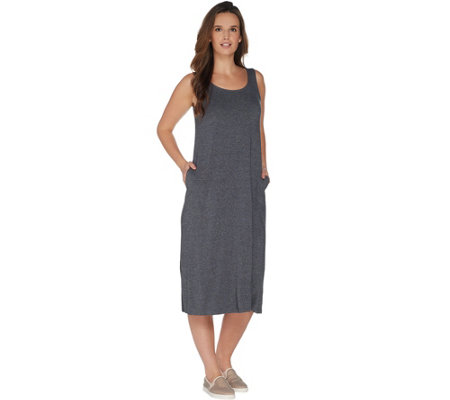 LOGO by Lori Goldstein Jaspe Knit Tank Dress With Pockets