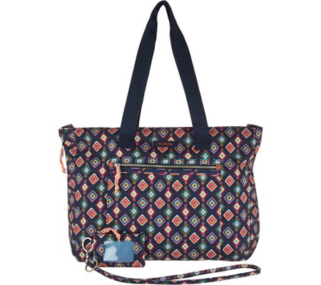 """As Is"" Vera Bradley Lighten Up Expandable Tote with ID Case & Lanyard"