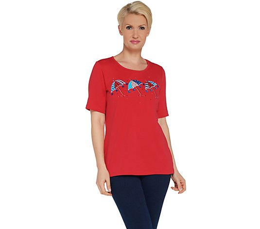 Quacker Factory Embroidered Elbow Sleeve Knit T-shirt w/ Tassel Detail