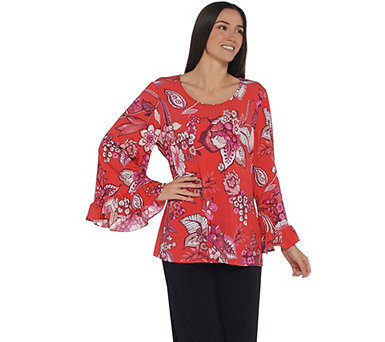 Attitudes by Renee Printed Scoopneck Knit Top w/ Ruffle Sleeves - A306475