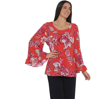 Attitudes by Renee Printed Scoopneck Knit Top w/ Ruffle Sleeves