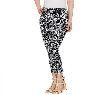 Kelly By Clinton Kelly Petite Printed Ponte Crop Pants