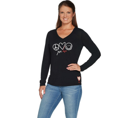 """As Is"" Peace Love World Give Love Knit Top w/Novelty Artisan Patch"