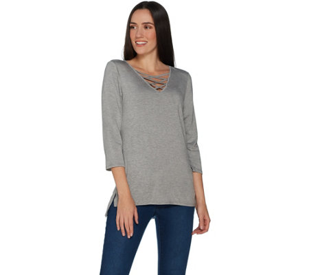"""As Is"" Laurie Felt Knit Top with Lace Up Neckline"