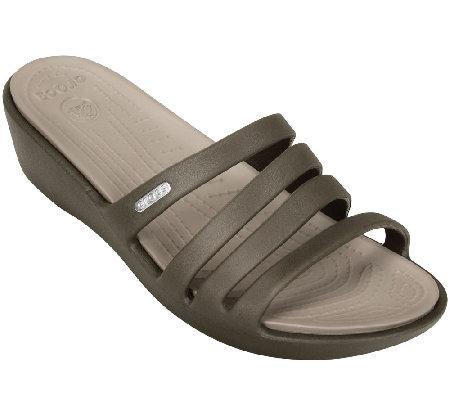 3baeba48187 Crocs Rhonda Wedge Slide Sandals — QVC.com
