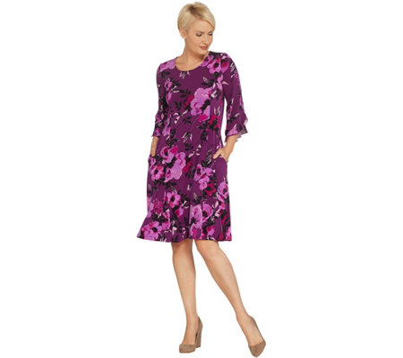 Susan Graver Printed Liquid Knit 3/4-Sleeve Dress