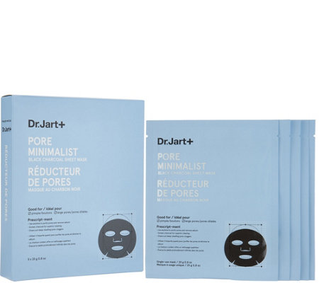 Dr. Jart Set of 5 Pore Minimalist Black Charcoal Sheet Masks