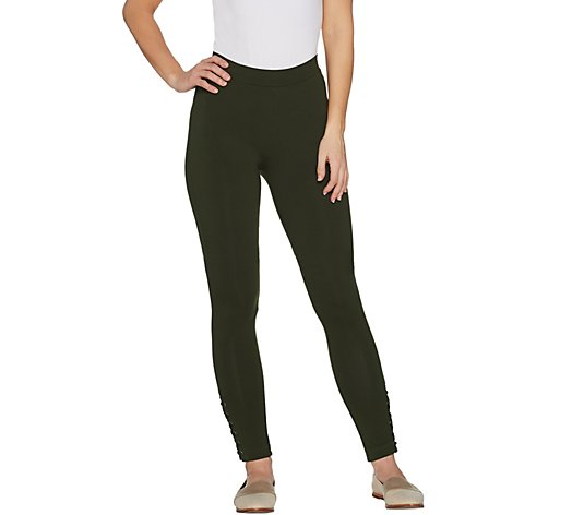 """As Is"" Susan Graver Petite Premium Stretch Leggings with Lacing"