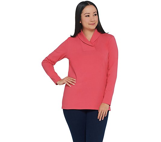 Denim & Co. Essentials Perfect Jersey Shawl Collar Long-Sleeve Top