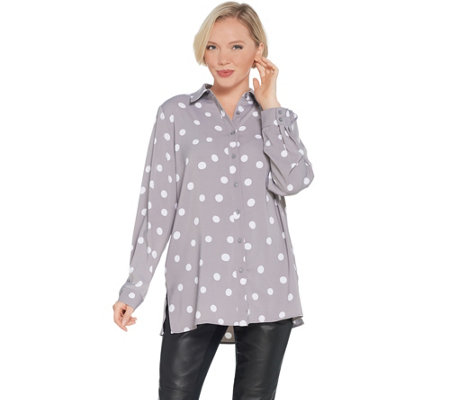 Susan Graver Printed Stretch Peachskin Button-Front Big Shirt