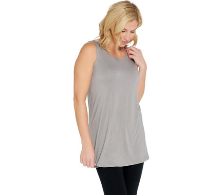 Logo Layers By Lori Goldstein Solid Knit Straight Hem Tank