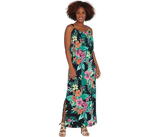 """As Is"" Susan Graver Petite Printed Liquid Knit Maxi Dress"