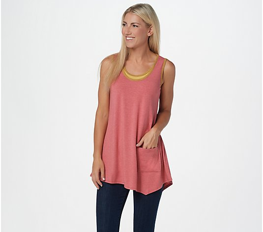 LOGO by Lori Goldstein Heathered Rib Knit Tank with Pocket