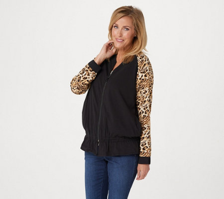 Belle by Kim Gravel TripleLuxe Knit Mixed Media Bomber Jacket