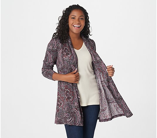Susan Graver Printed Ribbed Sweater Knit Cardigan