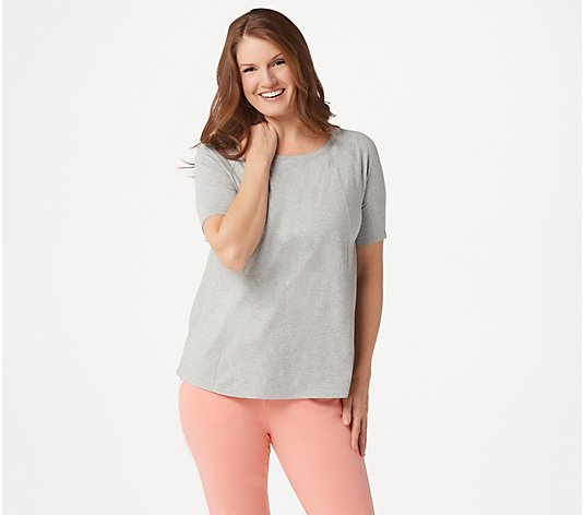 """As Is"" AnyBody Cozy Knit Short-Sleeve Swing Top"