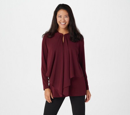 Susan Graver Liquid Knit Tunic with Chiffon Overlay