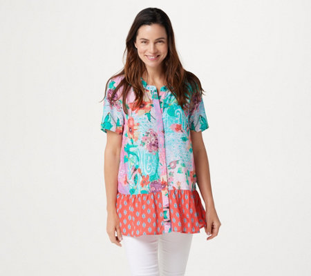 """As Is"" Tolani Collection Regular Printed Button Front Woven Tunic"