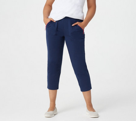 Denim & Co. Active French Terry Slim-Leg Crop Pants