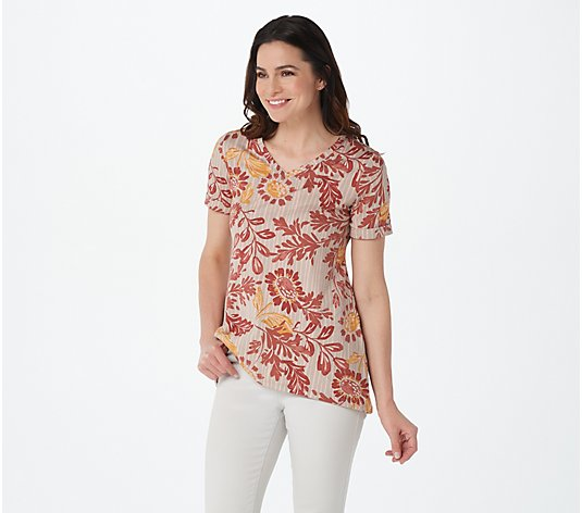 LOGO by Lori Goldstein Printed Cotton Modal Top with Rolled Sleeve