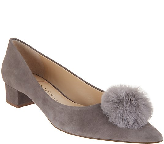 """As Is"" Sole Society Suede Low-Heel Pom Pom Pumps- Mirem"