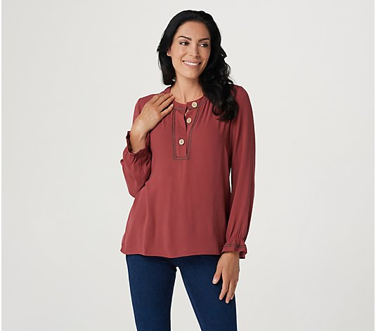 Denim & Co. Naturals Henley Blouse With Stitching Details