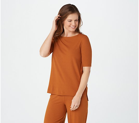"""As Is"" Cuddl Duds Wide Rib Elbow Sleeve Tunic"
