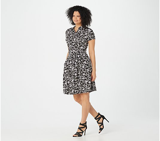 """As Is"" Isaac Mizrahi Live! Ditsy Floral Fit & Flare Shirt Dress"
