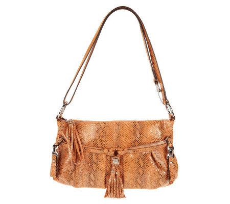 B Makowsky Leather East West Convertible Crossbody Bag