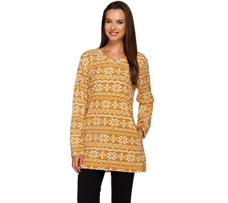 Denim & Co. Regular Printed Fleece V-neck Tunic