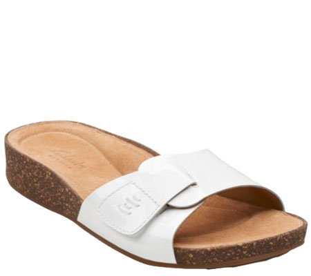 3470fef339f1 Clarks Artisan Patent Leather Slide Sandals - Perri Reef - Page 1 ...