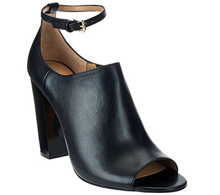 G.I.L.I. Leather Peep Toe Ankle Strap Booties -Preena