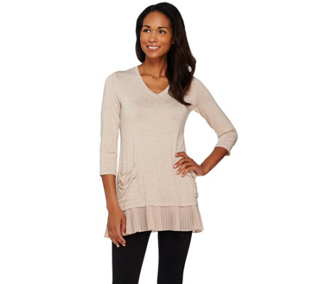 LOGO by Lori Goldstein Heathered Knit Top with Chiffon Trim