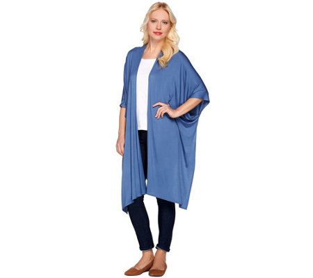 LOGO Layers by Lori Goldstein Open Front Elongated Knit Kimono