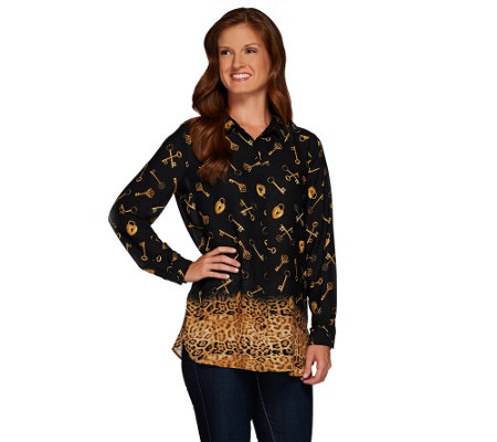 """As Is"" Susan Graver Printed Feather Weave Button Front Shirt"
