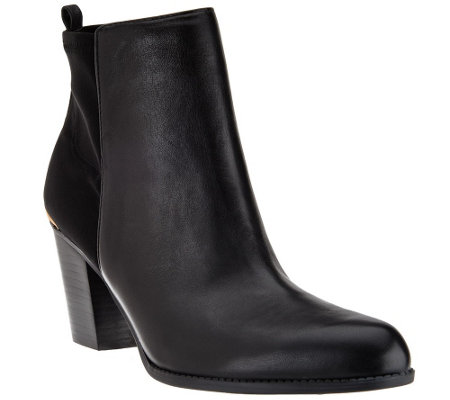 """As Is"" Marc Fisher Leather & Stretch Ankle Boots - Frenchie"