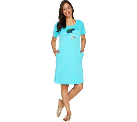 Quacker Factory Sequin Splash Short Sleeve Knit Dress With Pockets