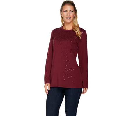 """As Is"" Quacker Factory Sequin Spray Long Sleeve Knit Top"